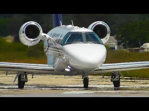 Cessna Citation CJ4 Low Landing & Takeoff - Skiathos, the Second St Maarten - Plane Spotting - ATC