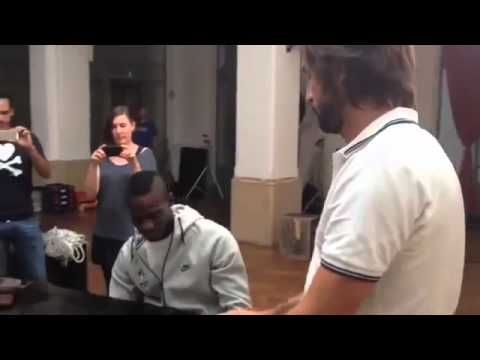 Mario Balotelli and Pirlo played the Italian national anthem on the piano