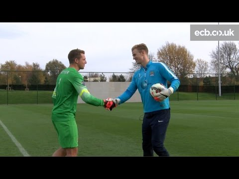 England cricketer Jos Buttler meets Man City & England's Joe Hart