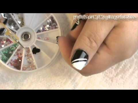 Diseño de Uñas Negro con Blanco!