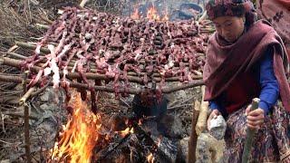 indigenous way to make dry meat    Nepal    village life    himalayan life    nomadic life   