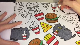 Coloring Time #43 Pusheen Hamburgers Fries Pizza Cute Speed Coloring with Markers