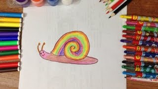 vẽ con ốc sên - dạy bé vẽ tranh,  tô màu ốc sên