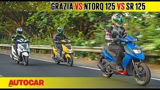TVS Ntorq 125 vs Aprilia SR 125 vs Honda Grazia | Comparison Test | Autocar India