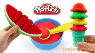 How To Make Play Doh Ice Cream Sundae with Velcro Fruits Cutting Toy Playset Nursery Rhymes for Kids