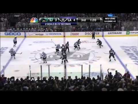 Trevor Lewis wrister PPG  4-3 May 16 2013 San Joses Sharks vs LA Kings NHL Hockey