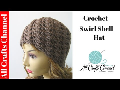 How to crochet a swirl pattern beanie (Half shell stitch) - subtitulos en espanol
