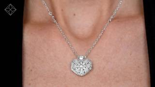 Tesoro Collection White Topaz Vintage Heart Locket Necklace In 925 Silver - UP3253