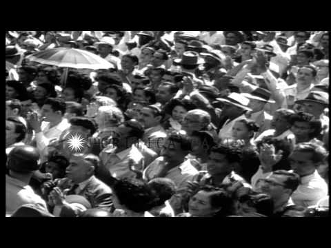 Luis Munoz Marin inaugurated as first elected Governor in San Juan, Puerto Rico. ...HD Stock Footage