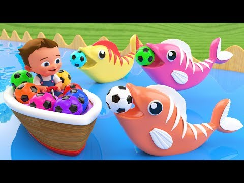 Little Baby Fun Learning Colors for Children with Soccer Balls Fish Wooden Tumbling Slides 3D Kids thumbnail