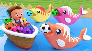 Little Baby Fun Learning Colors for Children with Soccer Balls Fish Wooden Tumbling Slides 3D Kids