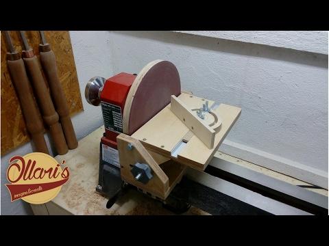 Adjustable Disc Sander and Miter Gauge for a Lathe
