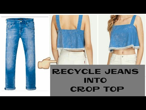 DIY : CONVERT OLD JEANS INTO CUTE CROP TOP ~