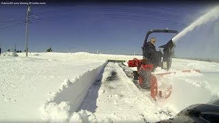 Kubota BX snow blowing 28 inches snow
