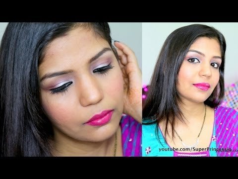 Getting Ready With Me For Diwali Night Party Makeup,Bollywood Pink Silver Eye Makeup Indianmakeup