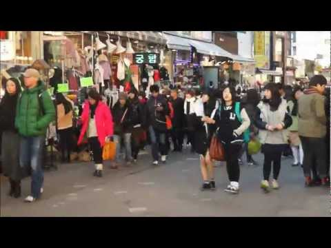 Hongdae Time Lapse Video (Koreans, foreigners, shopping, culture) (홍대앞) Seoul, Korea