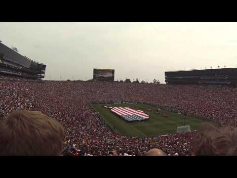 Real Madrid Manchester United Anthem And Flyover 2014 Big House video