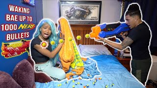 Waking Bae Up To 1,000 NERF Bullets! **PRANK**