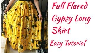DIY Gypsy Long Skirt/ Tiered Skirt/ Layered Skirt full tutorial/Long Skirt cutting and stitching