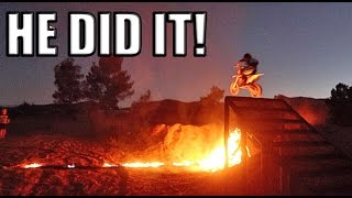 KID JUMPS FIRE ON DIRTBIKE!