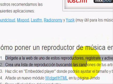 Como ponerle un reproductor de musica a mi web jimdo ( solo es ayuda )