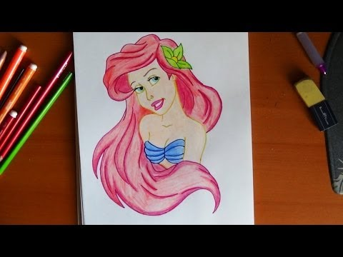 Видео как нарисовать принцессу Ариэль