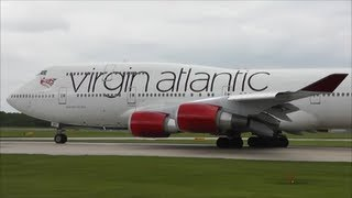 Virgin Atlantic Boeing 747-41R Close Up Departure, Manchester Airport!