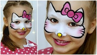 """Hello Kitty"" Makeup for Kids - Fast & Easy Face Painting Tutorial"