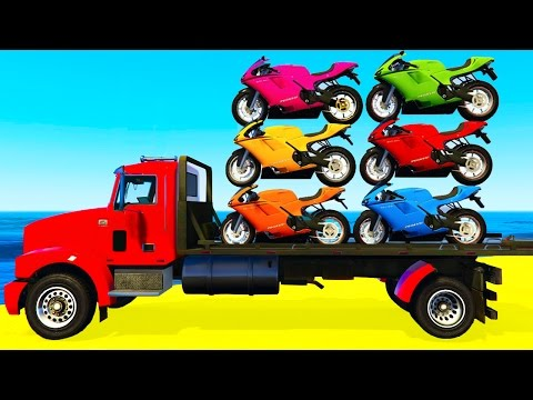 COLOR MOTORBIKE on TRUCK and Spiderman Cars Cartoon for Kids & Colors for Children Nursery Rhymes #1