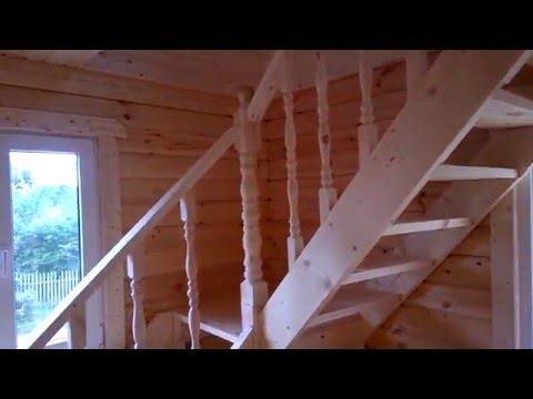 Деревянный дом из бруса 6 на 6 с крыльцом (дом 6х6)
