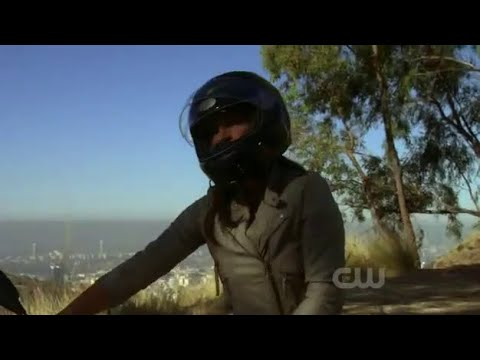 Actress/Stuntwoman Zoe Bell riding an Aprilia Motorcycle