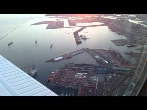Scenic Aerial View of Long Beach Harbor, Port & Sunset From Beechcraft B