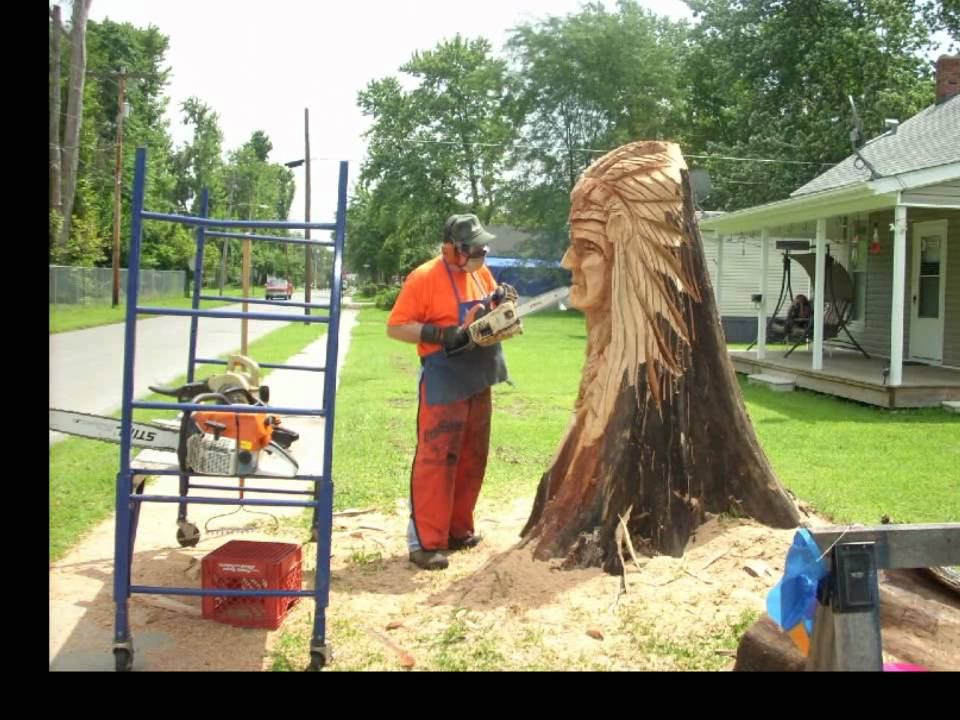 Boatright indian chief chainsaw sculpture youtube