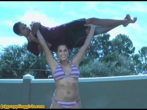 Girl Lifts Girl Overhead Overhead Lift.wmv