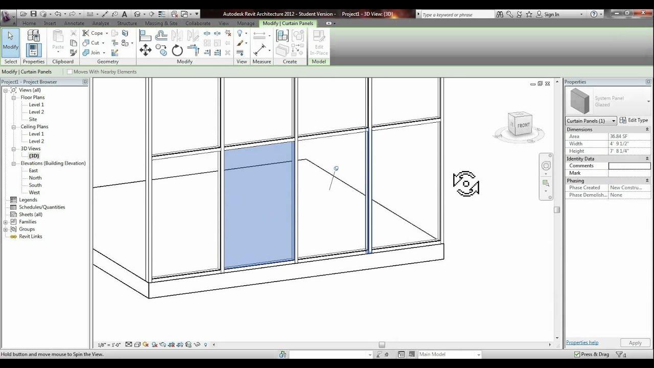 Revit Placing A Door Into A Glass Curtain Wall Tutorial