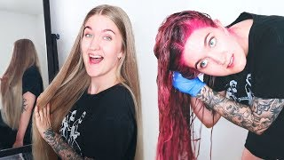 DYEING MY LONG BLONDE HAIR PINK