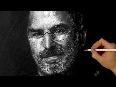 STEVE JOBS White charcoal Portrait - ThePortraitArt