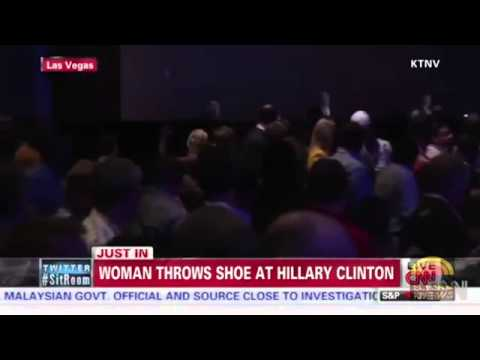 Woman Throws Shoe at Hillary Clinton during Las Vegas Speech 4   10   2014