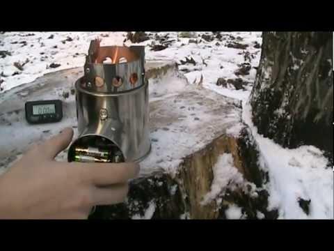 Розжиг походной дровяной горелки с турбиной Airwood BM