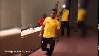 Kwesi Appiah, the New Black Stars player dances for his team mates in camp (#MustWatch Funny Video)