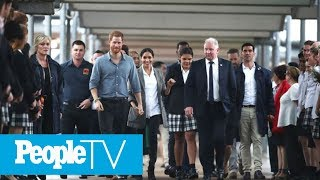 Meghan Markle Holds On Tight To Prince Harry As They Meet Students On Dubbo Trip | PeopleTV
