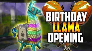 MASSIVE BIRTHDAY LLAMA OPENING! We Got The JACK-O-LAUNCHER!! - Fortnite Save The World