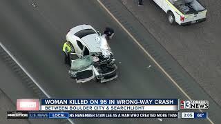 Woman killed in wrong-way crash on US 95