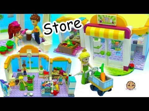 Surprise Blind Bags + Queen Elsa Shops at Lego Friends Supermarket Store For Food