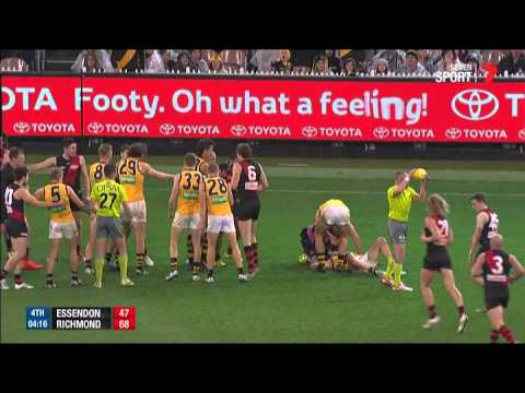 Courtenay Dempsey was reported for this tackle - AFL