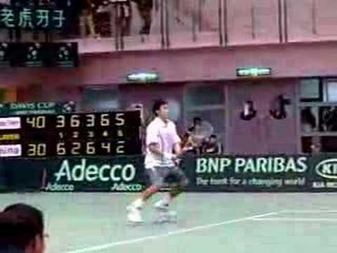 Davis Cup 04/06/2007 Yen-Hsun LU vs Peng SUN, match point