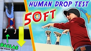 HUMAN DROP TEST! 50+ Feet Down w/ DALLAS the Pizza Guy! + DIY iPod Case Experiment (FUNnel Vision)