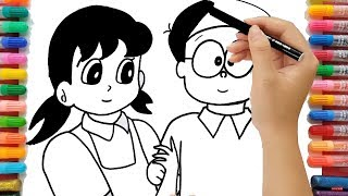 Nobita Shizuka Colouring Pages Fun Video for Preschoolers