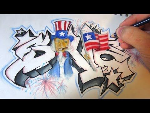 Fourth of July Graffiti Speed Art