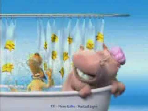 O hipopotamo e o cachorro tomando banho